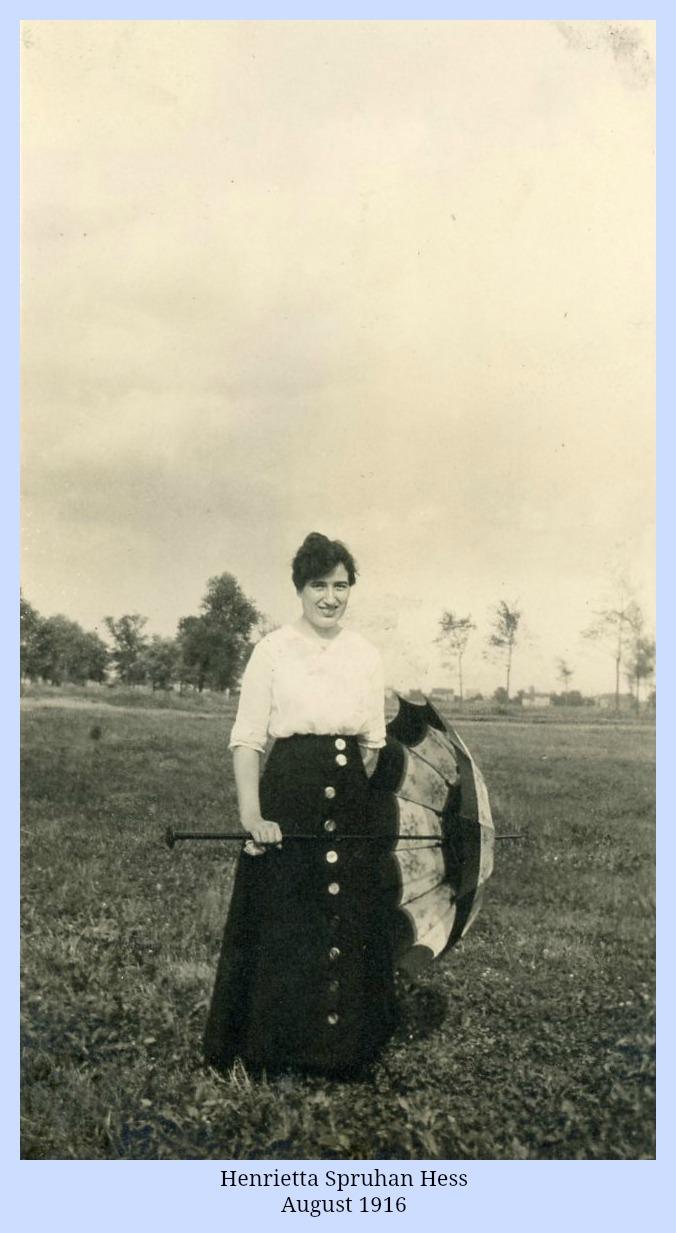 Henrietta Spruhan Hess with umbrella 1916