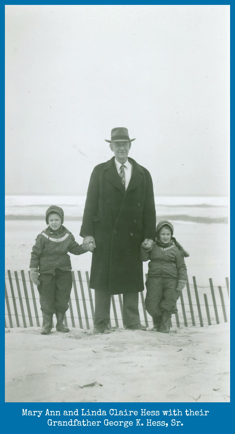 Mary Ann and Linda with Grandfather George K. Hess at Lake Michigan