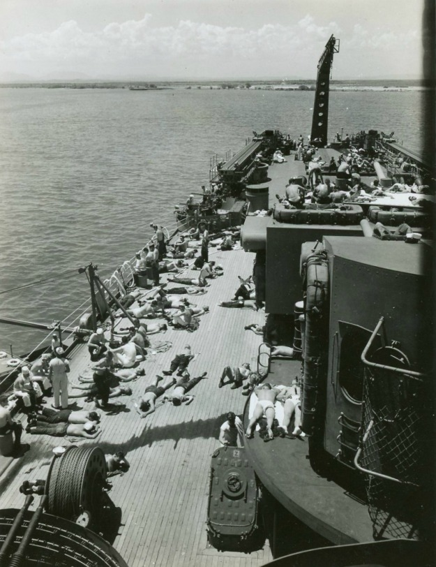 USS Oregon City sun bathing
