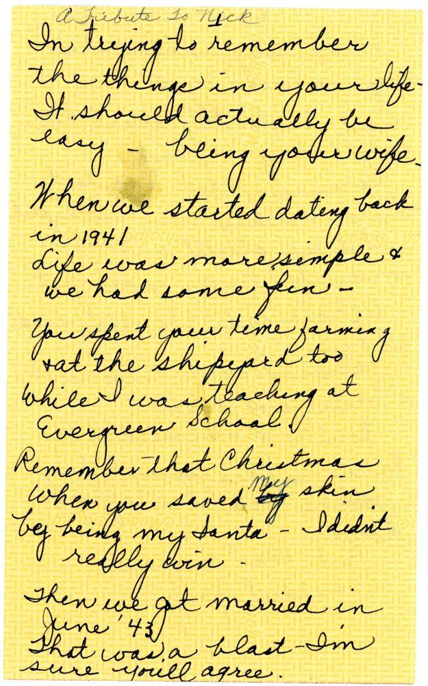 Joyce Shaw Wiesner tribute to Nick Wiesner page 1