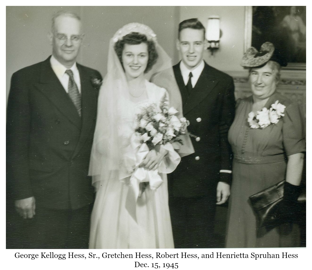 Gretchen and Bob Hess wedding photo with George and Henrietta