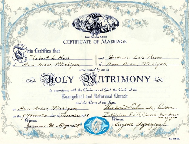 Marriage certificate for Robert and Gretchen Hess