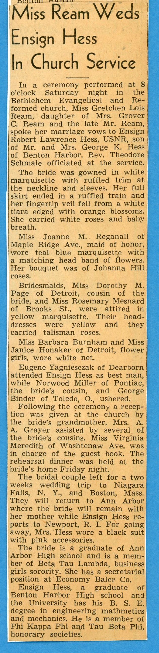 Robert and Gretchen wedding announcement Feb. 1945 part 2