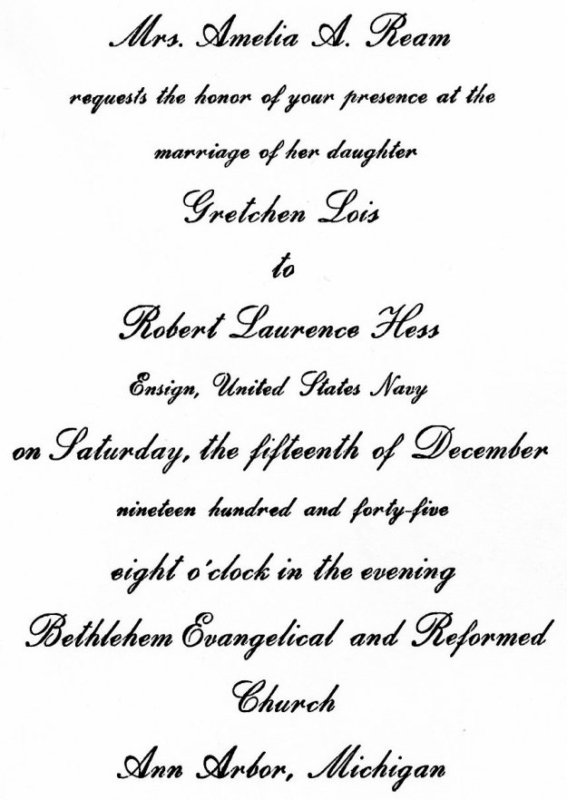 Wedding invitation for Robert and Gretchen Hess