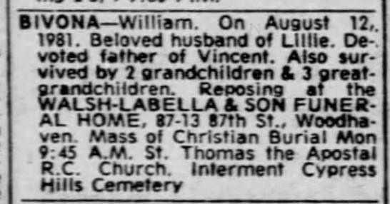 William Bivona death notice