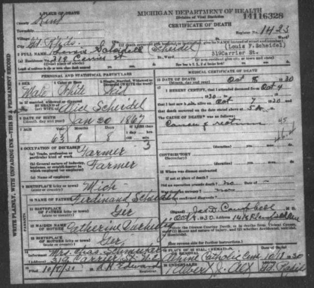 death certificate of Lewis Scheidel