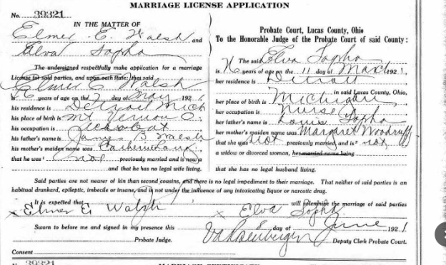 Does age matter? The marriage of Elmer Walsh and Elva Sopha