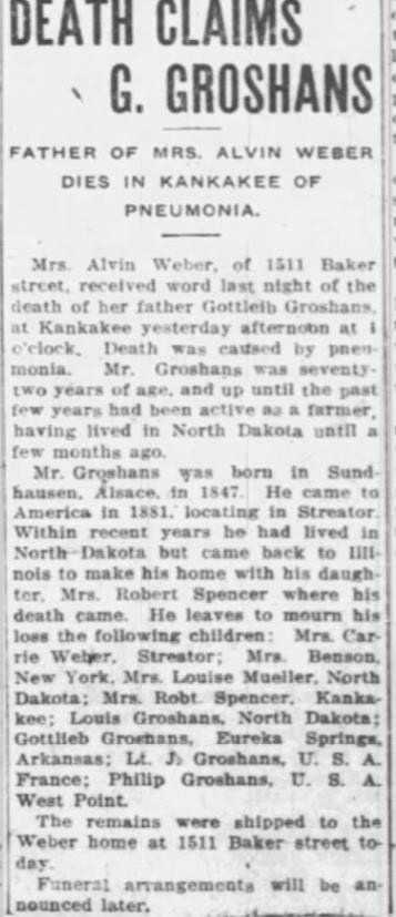 26 Aug 1919 The Times, Streator IL death of G. Groshans