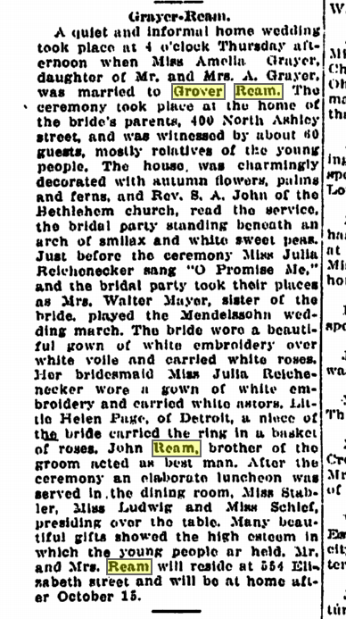 Grayer Ream Wedding in AA news Sept. 27, 1912