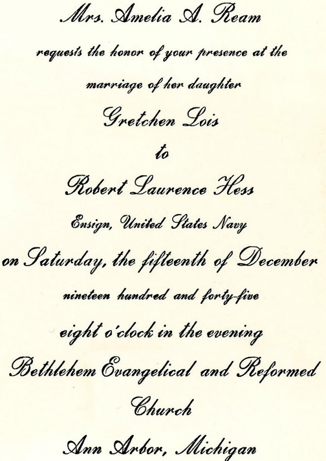 Invitation to wedding of Robert and Gretchen 12.15.1945