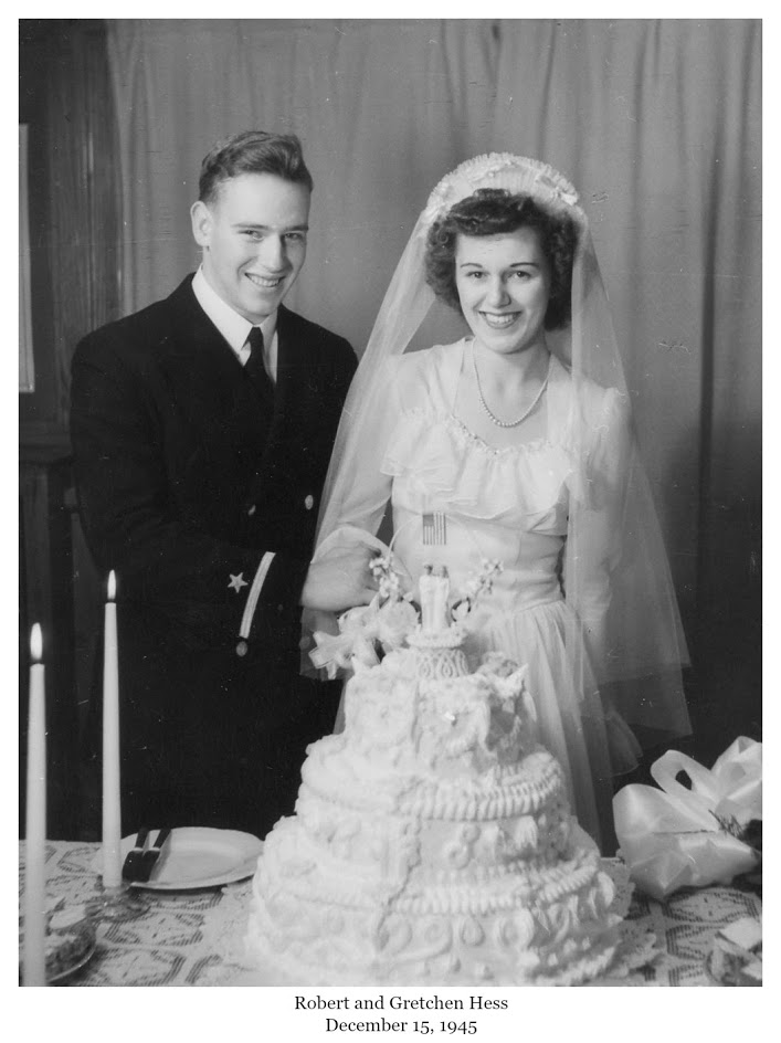 Robert and Gretchen Hess Dec 1945 wedding cake