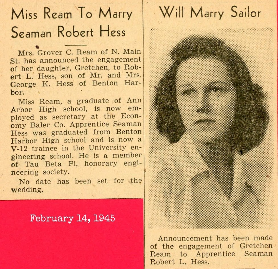 Robert and Gretchen wedding announcement Feb. 1945