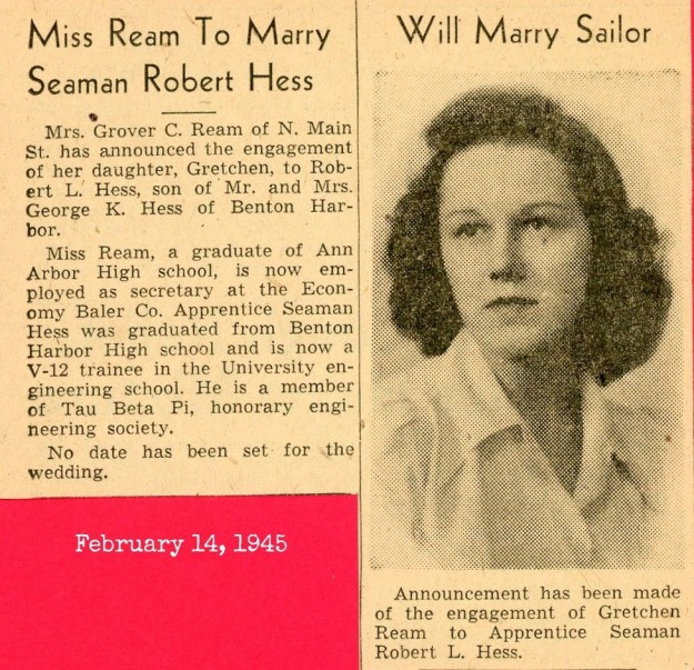 Robert and Gretchen wedding announcement Feb. 1945