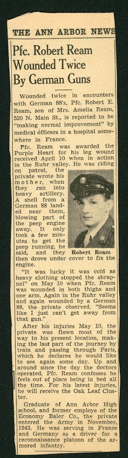 Robert Ream news article wounded twice