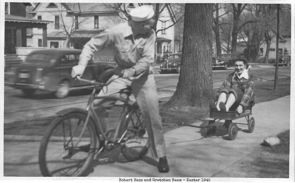 with text Gretchen and Bob Wagon Easter Parade 1945