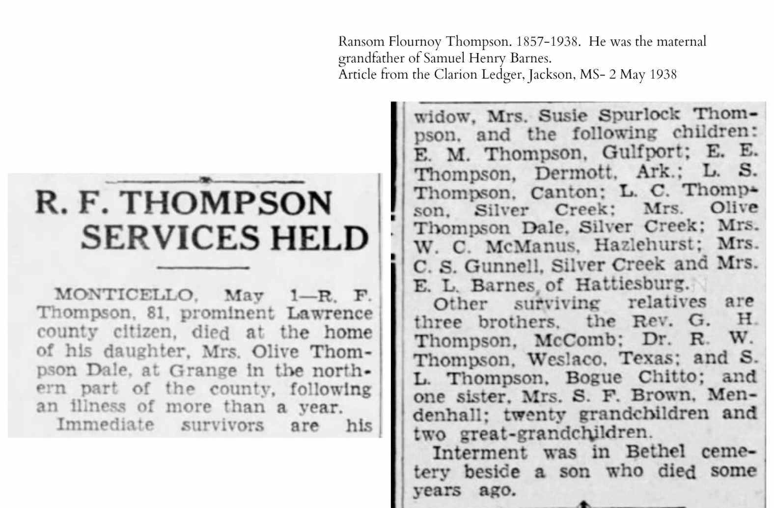 death of Ransom Flournoy Thompson