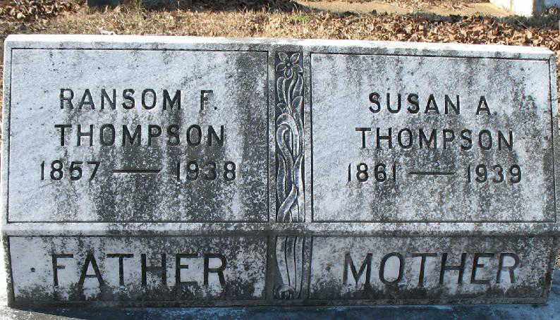Ransom and Susan tombstones at the Thompson Buckley Cemetery