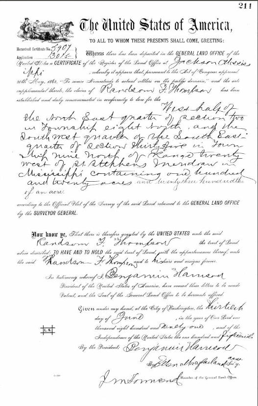 U.S. General Land Grant issued 30 Jun 1891.PNG
