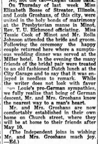29 April 1915 Bosse and Groshans wed Minot ND