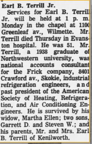 Earl B. Terrill, Jr. 12 Nov 1966 Chicago Tribune, IL