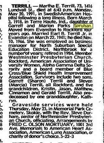 Martha E. Terrill from the Register Star, Rockford Ill, May 24, 1991