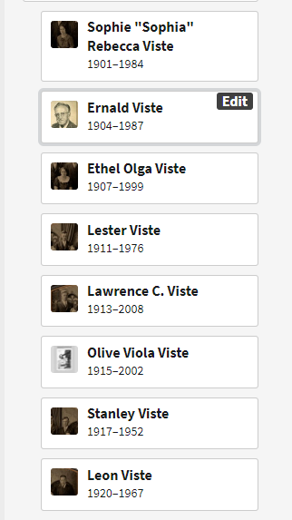 Ole and Emma Viste's children