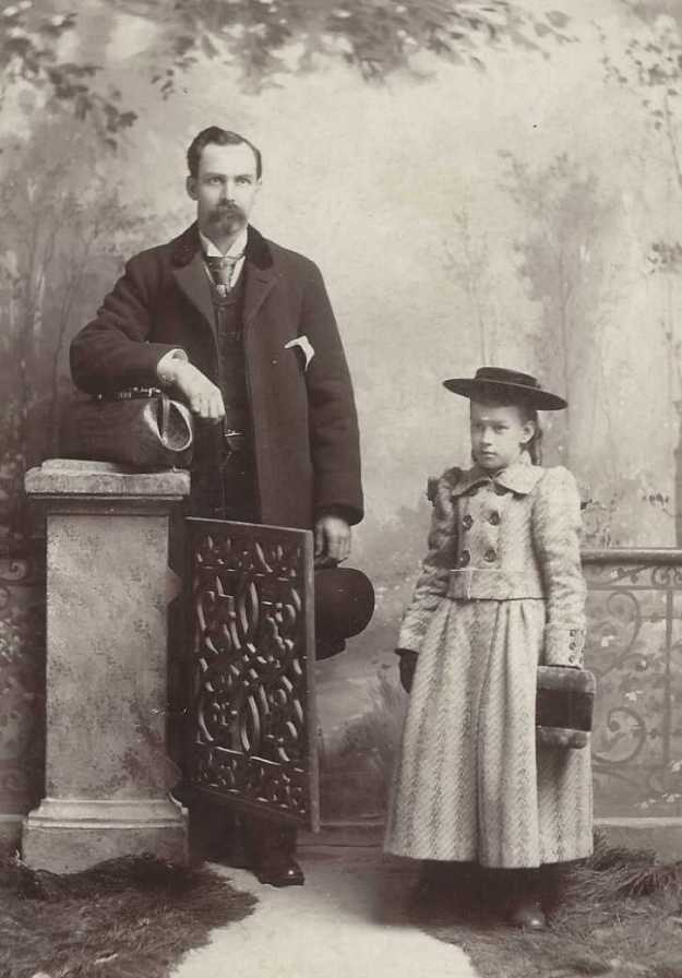 A.I. Barton and daughter Bertha Barton from Dersline Photo Studio, Lewiston, PA