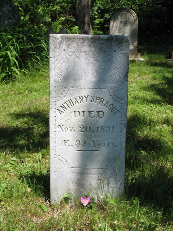Anthony Sprague tomb stone from Ancestry